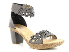 RIEKER Dames RIEKER Sandaaltjes in nubuck-look grijs 36,37,38,39,40,41,42