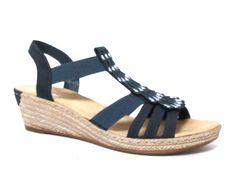 Rieker sleehak sandalen Blauw